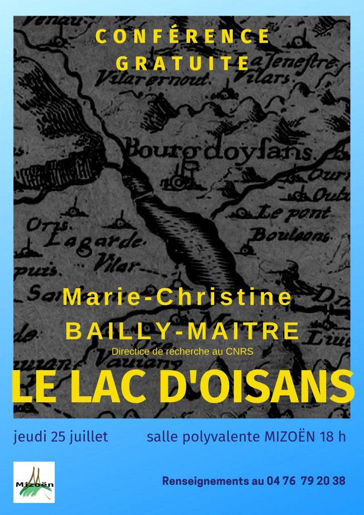 Conférence Le Lac d'oisans Mizoën Marie Christine Bailly Maître